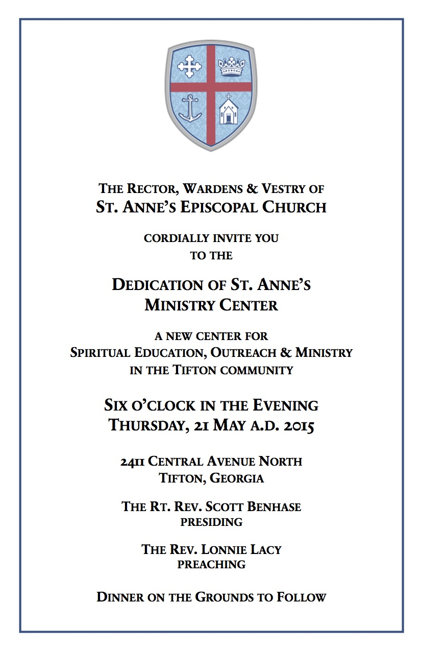 St Annes Episcopal Church Dedication of New Ministry Center May 21